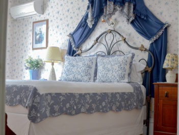 The Blue Room showcases blue furnishings and antiques.